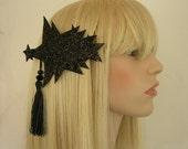 Black Glittery Star Barrette. - To Order
