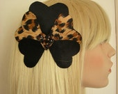 Black and Leopard Print Silk Heart Hair adornment. - Ready to ship