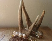 Woodland nymph head adornment - Champagne and Pearl - To order