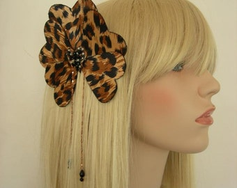 Leopard Print Silk Heart and Crystal Hair Comb Fascinator. - Ready to ship