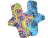 Maxi Tie Dye Skulls - Set of 2 Maxi cloth menstrual pads 11 inches long with PUL