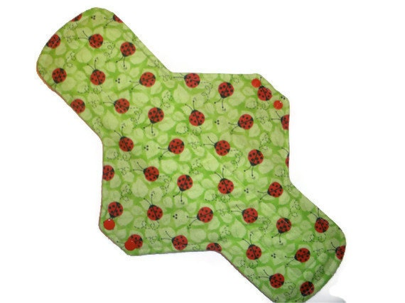 Postpartum Maxi Cloth Menstrual Pad 14 inches long with PUL - Ladybugs