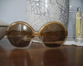 Mod Tan Light Brown 60s 70s Jackie O Round Sunglasses