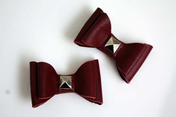 Red Leather Bow Hair Clips with Studs