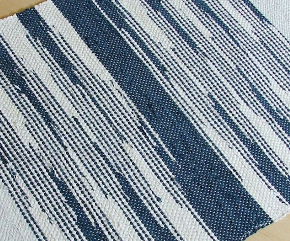 Blue And White Scandinavian Rug: Hand-woven Blue And White Zigzag Rug By Finnishweaver On Etsy