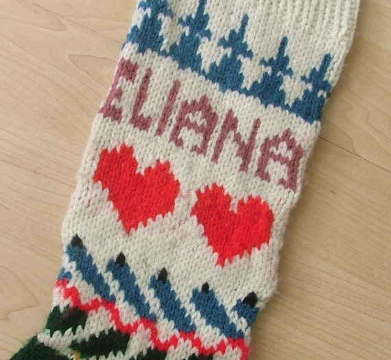 Knitting Pattern Christmas Stocking With Name : Hand-knit Christmas stocking personalized with name and year