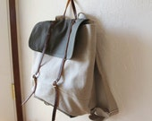 The Rucksack in Hemp and Dark Olive Canvas and Leather