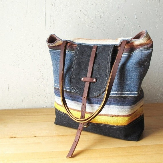 2-Tone Flap Tote in Woven Wool and Denim