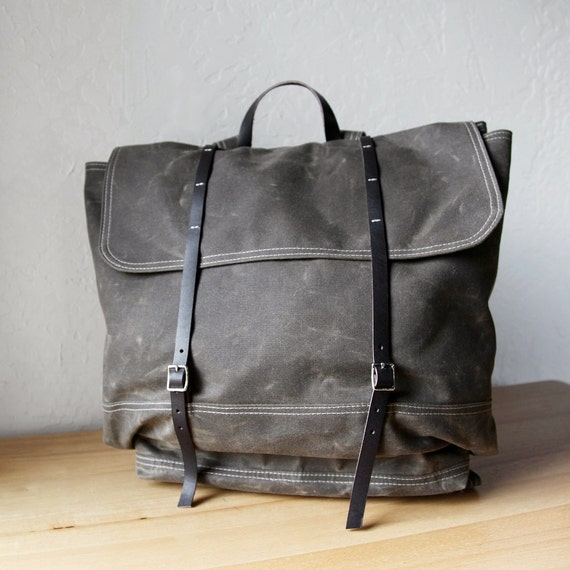 Waxed Canvas Backpack // The Rucksack in Stone // Leather Straps
