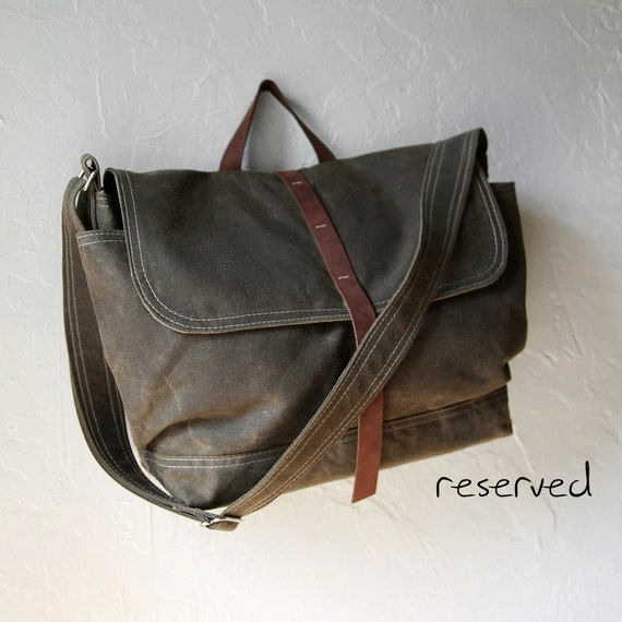 Reserved. The Day Pack in Saddle Brown Waxed Canvas