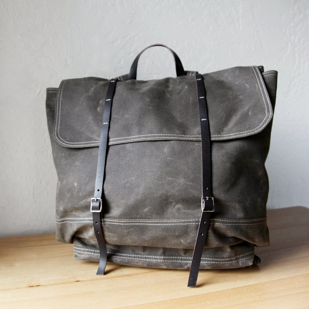 Waxed Canvas Backpack The Rucksack In Stone Leather