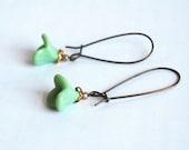 Mint green tulip drop german earrings
