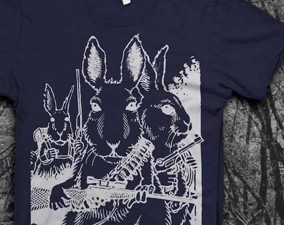 Rabbits with Guns - Mens Softstyle Tshirt
