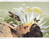 The Awaking of Spring, Fine Art Collage Illustration Print   8x12 inch,