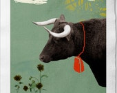 Taurus - Zodiac Illustration Print, Collage on Handmade Watercolor Paper  20x30cm-7.8 x 11.8 inch