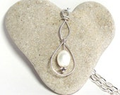 Pearl Necklace: White Pearl Drop Pendant Sterling Necklace