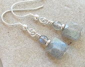 Labradorite Dangle Earrings: Square Faceted Labradorite Earrings Sterling