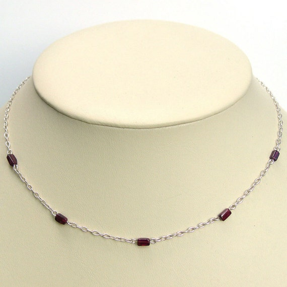 Natural Red Garnet Sterling Silver Chain Necklace