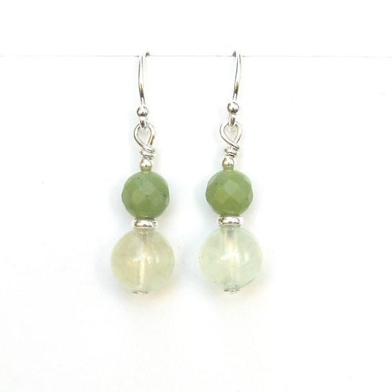 Green Jade Earrings: Prehnite & BC Jade Sterling Silver Earrings