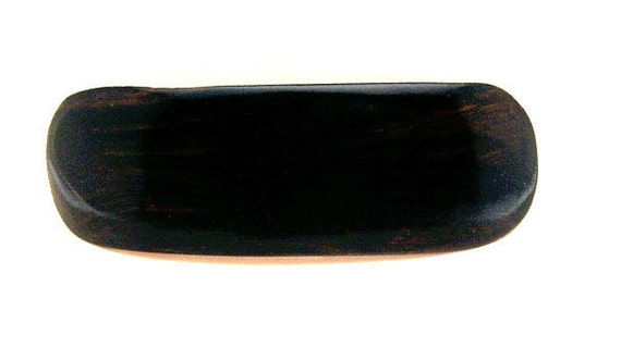 Handmade Wood Barrette with French Made Clip Medium African Blackwood