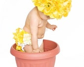 Yellow Silk Flower Hat with Bloomers - SweetPriBow