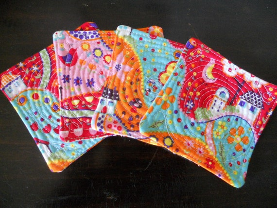 Coasters, set of 4, reversible, whimsical