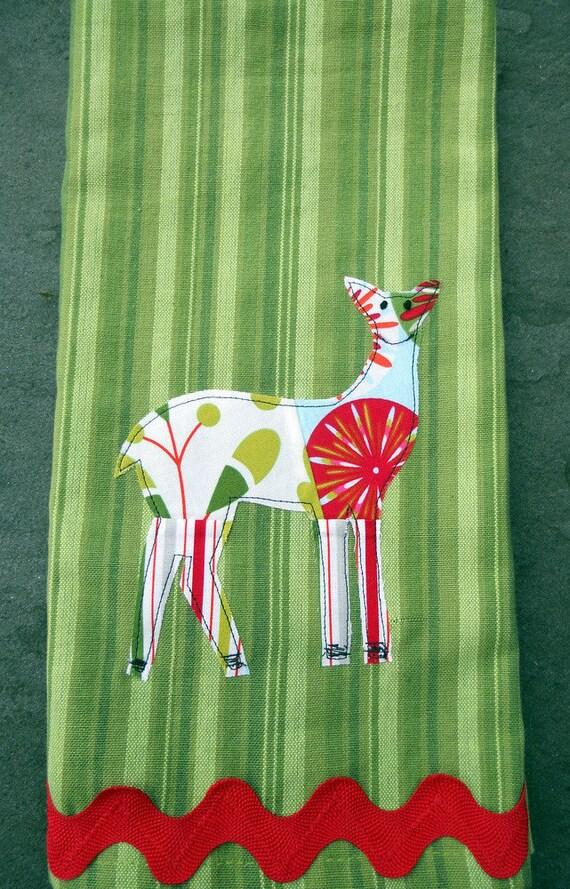 christmas tea towel, deer