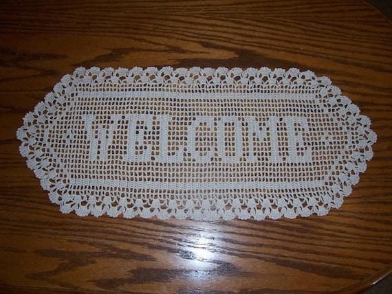 WELCOME Filet Crochet Doily