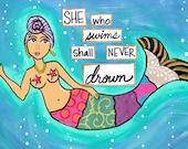 5x7 PRINT: She Who Swims...
