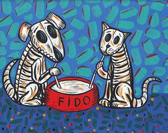 Day Of The Dead dog and Cat Print 5x7