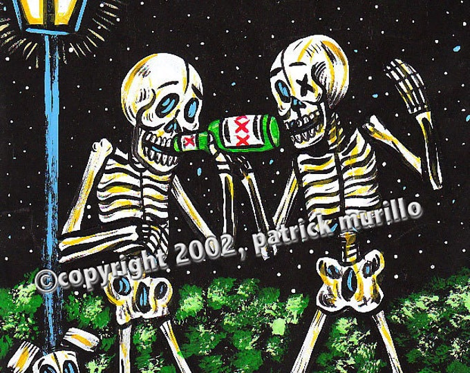 DAY of the DEAD PRINT: Drinking Buddies