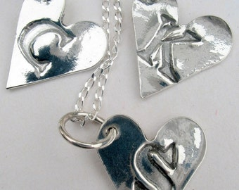 Heart shaped letter charm. Love token necklace.