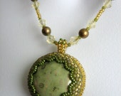 SAGE and CHAMPAGNE Beaded Pendant Necklace