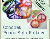 PATTERN- Crochet Peace Sign Pendant