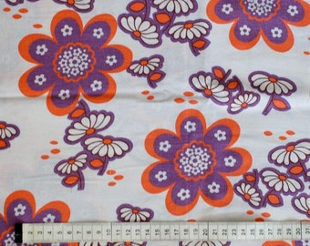 Seventies vintage floral fabric - 80x35 cm.