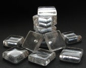 "Tiny Glass Squares - Set of 10 - 3/5"" (15mm) Crystal Clear Colorless Glass Squares, Hand-Cut and Fired, Textured Back"