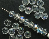 4mm Clear Crystal Rondelle Beads - Set of 70 - Faceted Clear Crystal Glass Beads  (CBD0008)