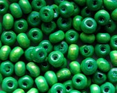 Wooden Beads - Over 100 - Glossy Green - 3 x 4mm