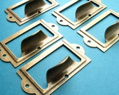 Set of 5 Antique Brass Finish Label Holders With Drawer Pull Handle, Card Holders Metal Label Frames