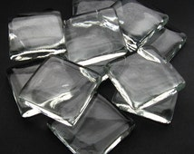 Set of 10 Extra Large Squares 2 Inch 50mm Clear Glass Flat Bottom Gems - Crafts Paperweights