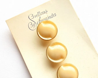 "SALE - Vintage Glass Buttons - Set of 5 - 13mm (1/2"") Cream/Beige Colored Glass With Gold Detail on Schwanda Collector's Card"