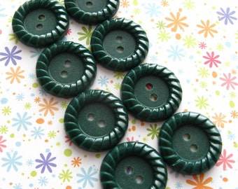 Green Vintage Buttons - Set of 8 - 18mm Dark Green Plastic With Detailed Edges