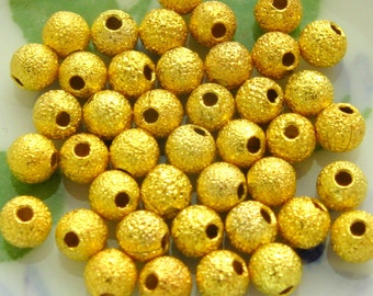 Gold Plated Stardust Spacer Beads - Set of 40 - 4mm Round (GBD0005)