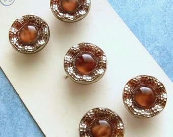 Vintage Glass Buttons - Set of 5 Brown and Silver Lace Edge Moonglow Collector's Card