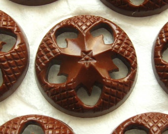 Vintage Buttons - Set of 8 - Chocolate Brown Plastic Floral Fifties Pierced Fun Funky Housecoat