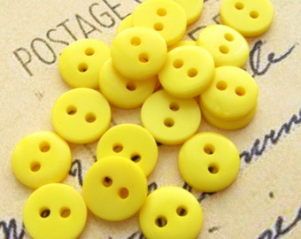 Yellow Plastic Buttons 9mm - Set of 20 - Tiny Yellow Mini Buttons (NB0026)