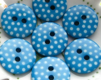 New Buttons - Set of 8 - Dark Turquoise/Teal with White Polka-Dots Plastic Buttons