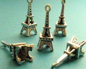 Eiffel Tower Pendants SALE - Set of 10 - 25mm Antique Silver Finish, 3-D Eiffel Tower Charms 25x10mm, Lead Free, Nickle Free (SC0062)