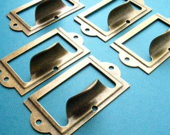 Set of 5 Antique Brass Finish Label Holders With Drawer Pull Handle, Card Holders Metal Label Frames (LH0001)