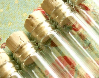 Small Glass Vials / Bottles with Corks - Set of 5 - 35mm Long - 1/2 Dram Size